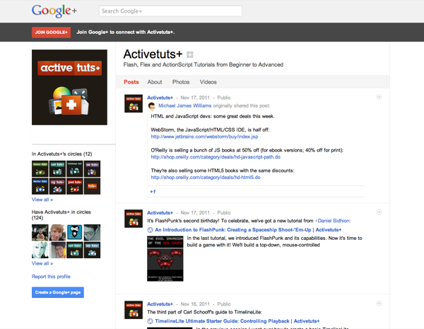 Activetuts+ on Google+