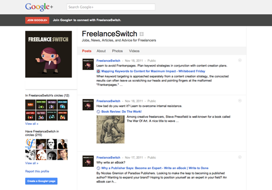FreelanceSwitch on Google+