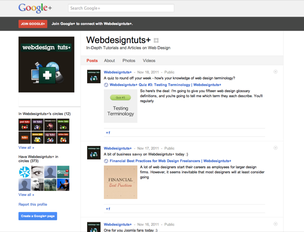 Webdesigntuts+ on Google+