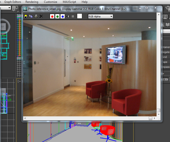 Achieving 3d realism reception area render with 3d studio for Office design 3d max