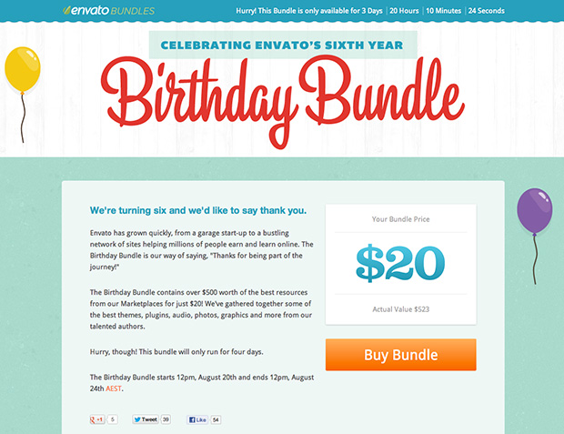 Envato's 2012 Birthday Bundle