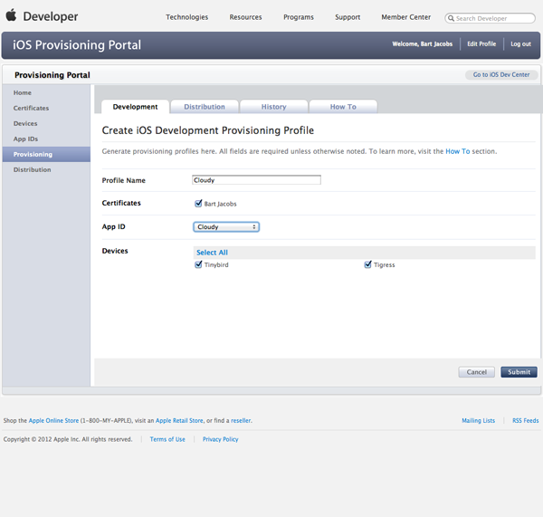 Working with iCloud: Creating a Provisioning Profile 1 - Figure 7