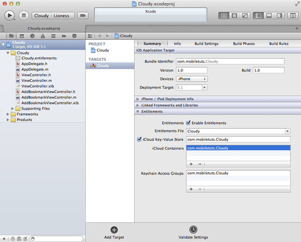 Working with iCloud: Configuring Entitlements - Figure 3