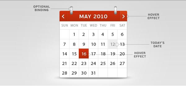 Calendar Web Widget : Calendar psd